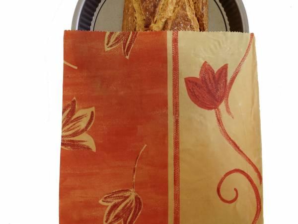 Pochon à pain ou tarte enduit de cire d'abeille. 30X40cm. Lavable, réutilisable. https://labeillemballeuse.fr/